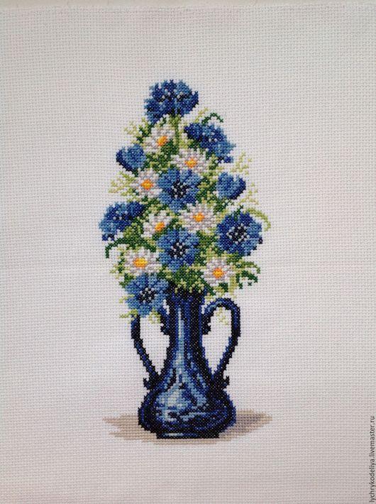 Картины цветов ручной работы. Ярмарка Мастеров - ручная работа. Купить Букет васильков в вазе. Handmade. Тёмно-синий, васильки
