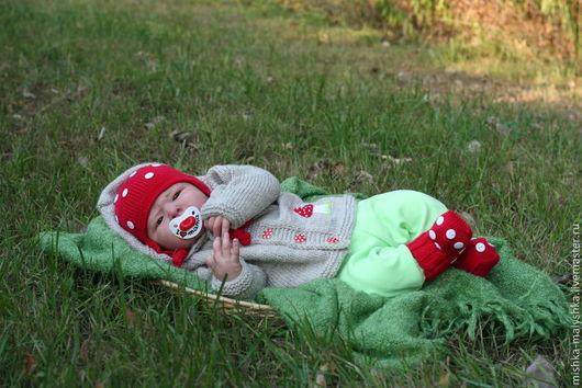 """Для новорожденных, ручной работы. Ярмарка Мастеров - ручная работа. Купить Комплект """"Нежный мухоморчик"""". Handmade. Мухомор, для малышки"""