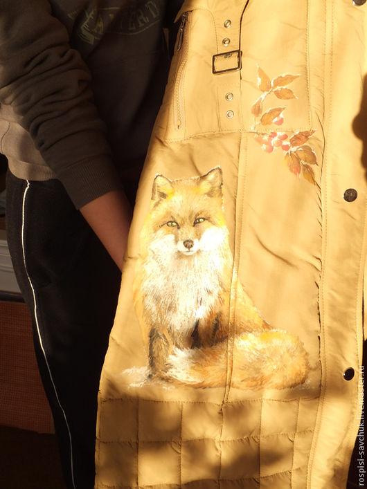 Верхняя одежда ручной работы. Ярмарка Мастеров - ручная работа. Купить Пуховик бежевый Зимняя лисичка Веточка рябины с капюшоном Размер S. Handmade.
