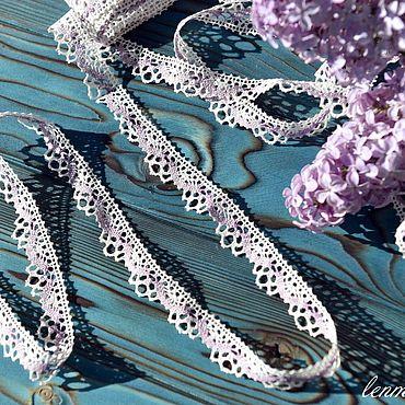 Материалы для творчества ручной работы. Ярмарка Мастеров - ручная работа 1.034L кружево льняное белое+фиолетовое. Handmade.