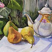 """Картины и панно ручной работы. Ярмарка Мастеров - ручная работа картина акварелью """"Чайник и груши"""" (35х50). Handmade."""
