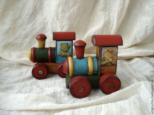 Развивающие игрушки ручной работы. Ярмарка Мастеров - ручная работа. Купить Паровозик 2. Handmade. Паровозик, сувениры из дерева