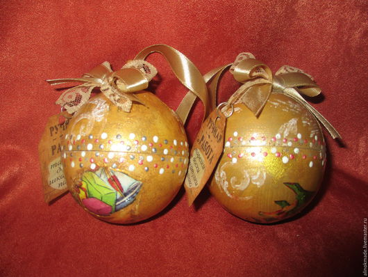 Новый год 2017 ручной работы. Ярмарка Мастеров - ручная работа. Купить новогодние шарики сувениры. Handmade. Золотой, украшение интерьера