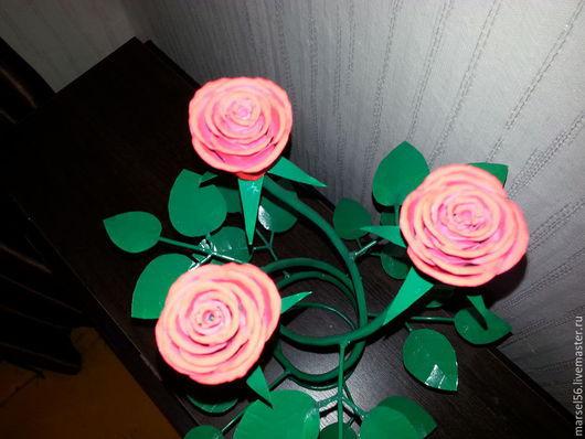 Цветы ручной работы. Ярмарка Мастеров - ручная работа. Купить розы из металла. Handmade. Коралловый, металл, кованая роза