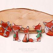 Украшения ручной работы. Ярмарка Мастеров - ручная работа Брошки-лисоньки (брошь лиса лисица). Handmade.