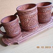 Посуда ручной работы. Ярмарка Мастеров - ручная работа набор пивных кружек из дерева. Handmade.