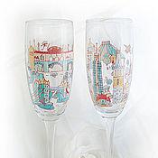"""Свадебный салон ручной работы. Ярмарка Мастеров - ручная работа Бокалы """"Путешествия"""" в голубом цвете. Handmade."""