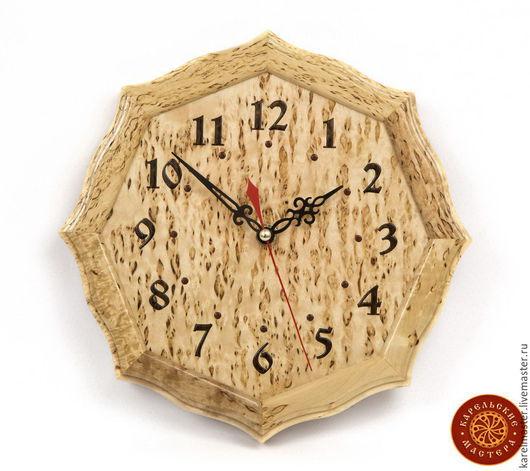 Часы для дома ручной работы. Ярмарка Мастеров - ручная работа. Купить Часы настенные восмигранные из карельской березы. Handmade. Часы