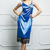 Одежда ручной работы. Ярмарка Мастеров - ручная работа Платье-комбинация в бельевом стиле синее. Handmade.
