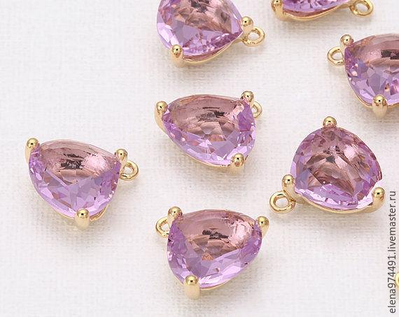 """Для украшений ручной работы. Ярмарка Мастеров - ручная работа. Купить 10.5х13х7мм. Подвеска """"Lavender """" в позолоте. Handmade."""