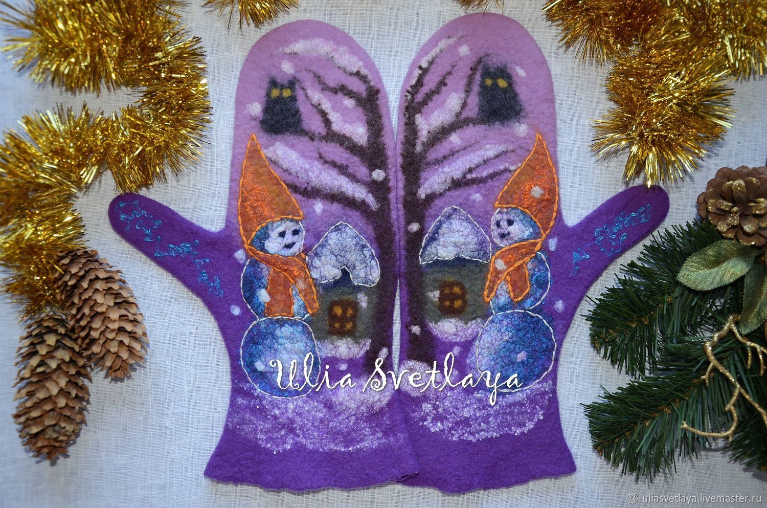 Felted mittens 'visiting Winter' lilac, Mittens, Zaporozhye,  Фото №1