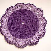 Для дома и интерьера handmade. Livemaster - original item Knitted Mat, knitted yarn Purple flower. Handmade.