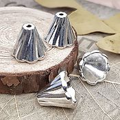 Материалы для творчества handmade. Livemaster - original item Cap bead end 13h12 mm in light Silver (2480). Handmade.