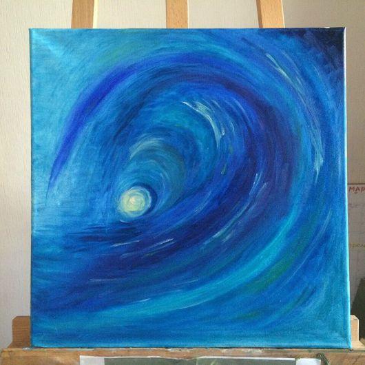 """Абстракция ручной работы. Ярмарка Мастеров - ручная работа. Купить Авторская картина """"Волна"""" масло, 40/40, бесконечность, море, водоворот. Handmade."""