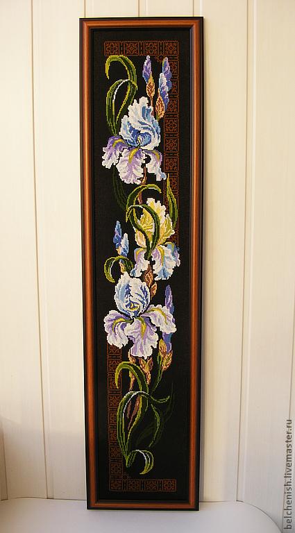 """Картины цветов ручной работы. Ярмарка Мастеров - ручная работа. Купить Вышивка крестом """"Ирисы"""". Handmade. Вышитая картина, канва"""