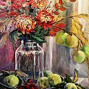 Картины и панно ручной работы. Ярмарка Мастеров - ручная работа Картина Натюрморт Хризантемы и яблоки. Handmade.