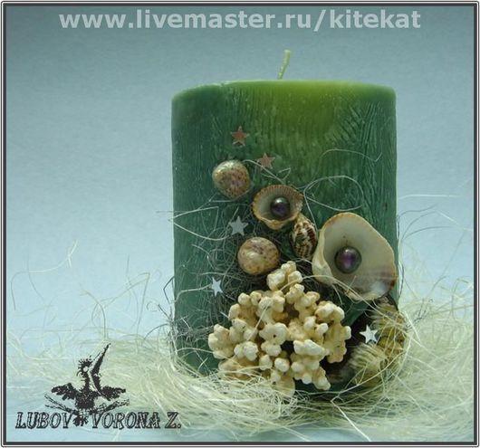 """Свечи ручной работы. Ярмарка Мастеров - ручная работа. Купить Свеча """"Сокровища морских глубин"""". Handmade. Зеленый, подарок, ракушки"""