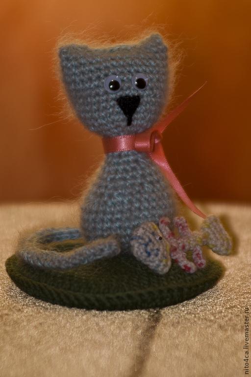 Игрушки животные, ручной работы. Ярмарка Мастеров - ручная работа. Купить Котик. Handmade. Серый, котик с мышкой, Махер
