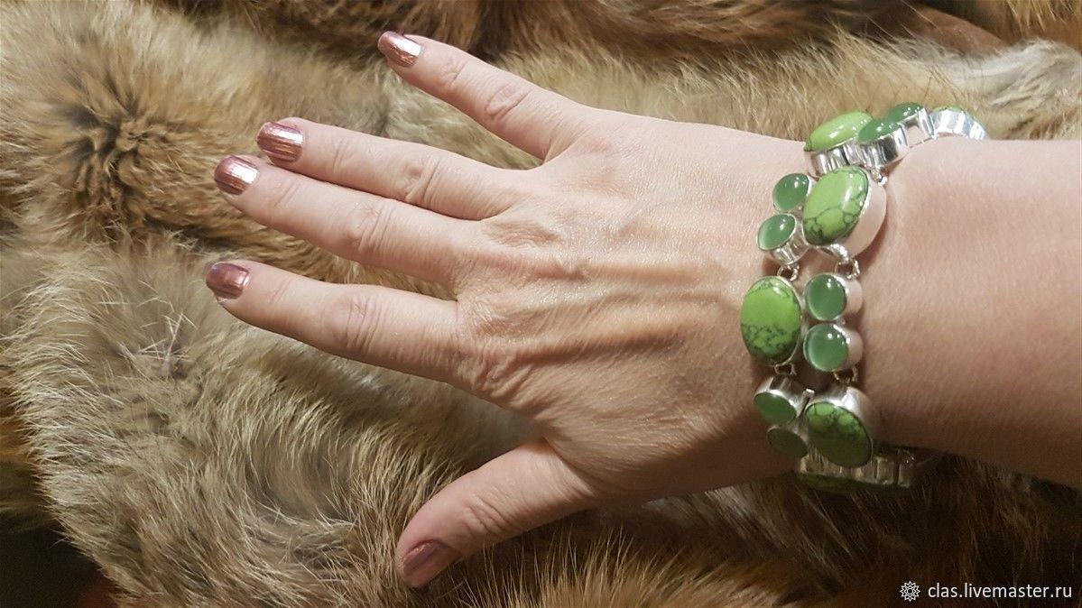 Серебряный браслет с кошачим глазом и бирюзой, Браслет жесткий, Москва,  Фото №1