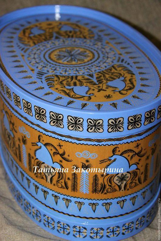 Быт ручной работы. Ярмарка Мастеров - ручная работа. Купить Короб овальный. Handmade. Синий, Традиции, русский стиль, фанера