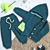 """Работы для детей, handmade. Livemaster - original item Детская вязаная кофточка с капюшоном и штанишки """"Contrast"""". Handmade."""