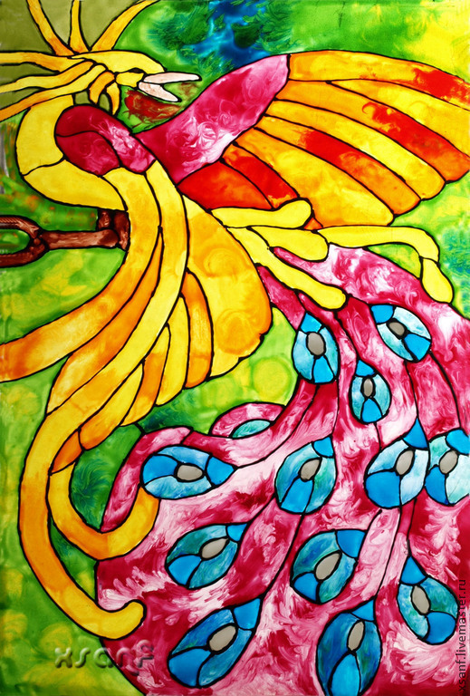 """Элементы интерьера ручной работы. Ярмарка Мастеров - ручная работа. Купить Картина-витраж """"Феникс"""". Handmade. Разноцветный, феникс, интерьер"""