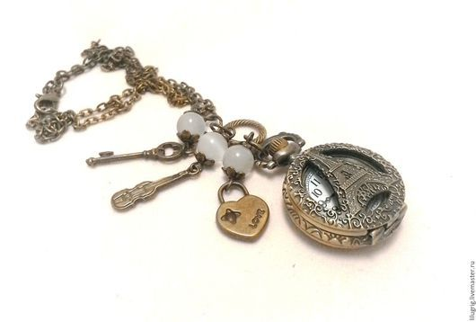 """Часы ручной работы. Ярмарка Мастеров - ручная работа. Купить Часы-кулон """"Париж"""". Handmade. Часы, подарок женщине"""