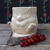 Кружки ручной работы. Ярмарка Мастеров - ручная работа Котокружка (кружка с котом). Handmade.