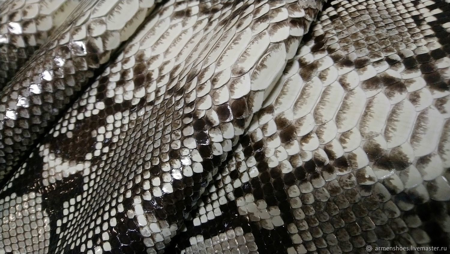 Python leather, glossy finish, clothing dressing, natural color, Leather, Tosno,  Фото №1