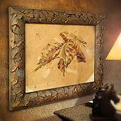 Картины и панно ручной работы. Ярмарка Мастеров - ручная работа картина Рыжие листья (в рамочке ручной работы, осенняя, листва, рыжый). Handmade.
