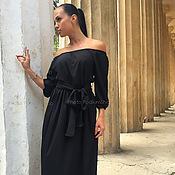 Одежда ручной работы. Ярмарка Мастеров - ручная работа Черное платье с открытыми плечами. Handmade.