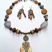 Украшения handmade. Livemaster - original item Necklace ethnic beads made from natural stones boyar. Handmade.