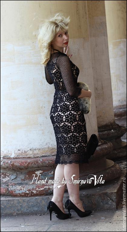 """Платья ручной работы. Ярмарка Мастеров - ручная работа. Купить Платье """"Элегантность"""". Handmade. Черный, 100% хлопок"""