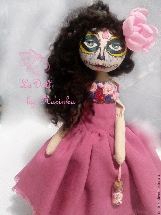 Коллекционные куклы ручной работы. Ярмарка Мастеров - ручная работа. Купить Муэрточка. Handmade. Розовый, разноцветный, мексиканская, краски акриловые