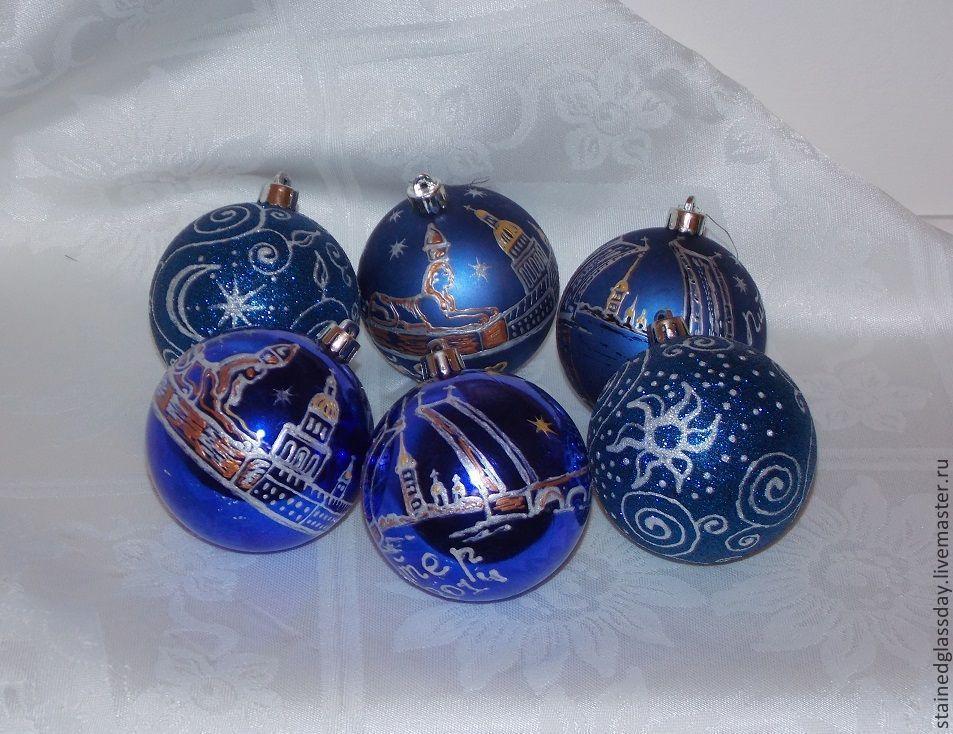 Сувенирные новогодние шары\r\nС видами Петербурга.\r\nРоспись контурами по стеклу.\r\n\r\nХудожник Екатерина Макарова