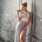 """Одежда ручной работы. Ярмарка Мастеров - ручная работа """"Жемчужина"""" - пеньюар жемчужно-серого цвета с розовым кружевом. Handmade."""