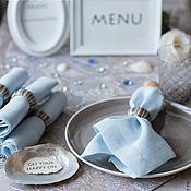 """""""Голубой кашемир"""" комплект скатерть, салфетки с кольцами."""