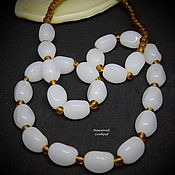 Работы для детей, handmade. Livemaster - original item Beads of jade and beads 52 cm Milk and Honey. Handmade.