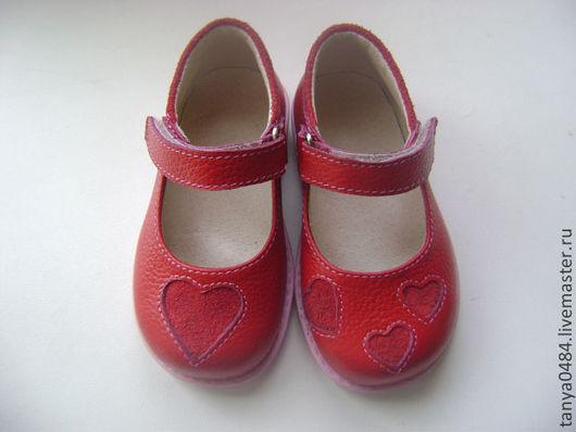 Детская обувь ручной работы. Ярмарка Мастеров - ручная работа. Купить туфли детские. Handmade. Ярко-красный, обувь для детей