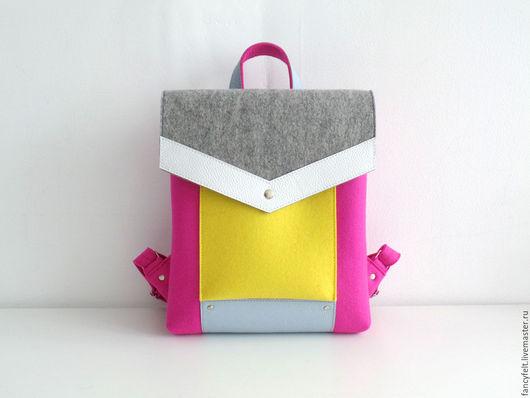 Рюкзаки ручной работы. Ярмарка Мастеров - ручная работа. Купить Желто-розовый рюкзак из фетра и натуральной кожи. Handmade. сумка