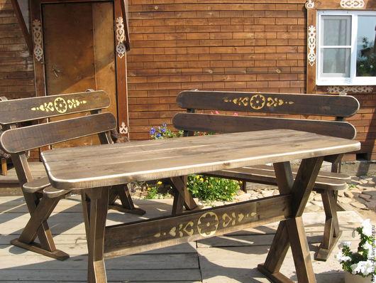 Комплект садовой мебели - стол и две скамейки
