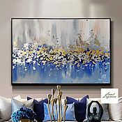 Картины и панно handmade. Livemaster - original item Falling leaves - abstract painting with gold leaf. Handmade.