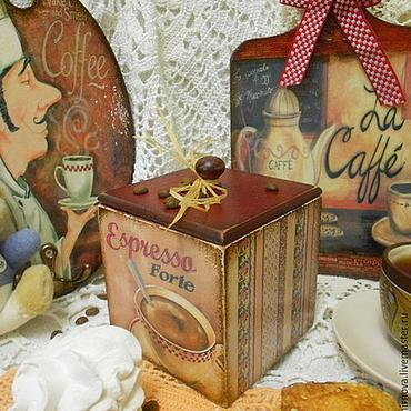 """Для дома и интерьера ручной работы. Ярмарка Мастеров - ручная работа Короб для кофе или чая """"Кафе Парижа"""". Handmade."""