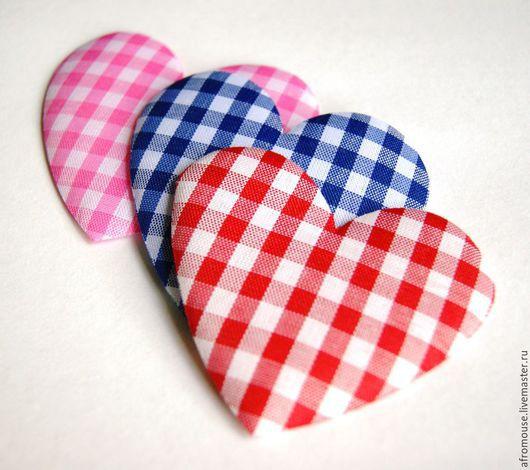 декоры `Сердечки клетчатые` из ткани 8 см