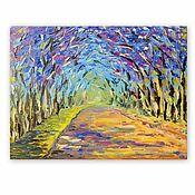 Картины и панно handmade. Livemaster - original item Picture Alley of flowering trees. Handmade.