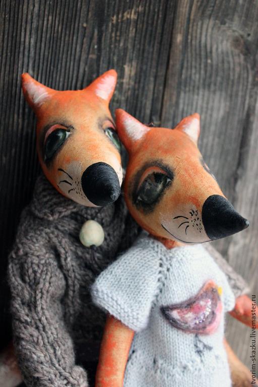"""Игрушки животные, ручной работы. Ярмарка Мастеров - ручная работа. Купить Влюбленные лисы """"Птичка моя"""". Handmade. Рыжий, лисичка"""
