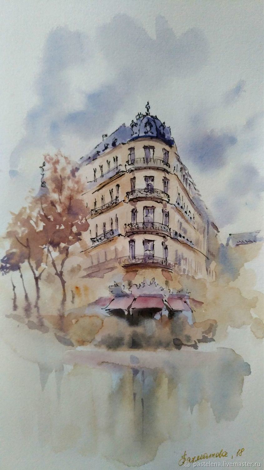 Painting watercolor Autumn in Paris (blue-violet, beige), Pictures, ,  Фото №1