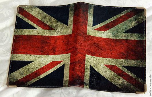 """Обложки ручной работы. Ярмарка Мастеров - ручная работа. Купить Обложка """"Британский флаг"""" (кожа). Handmade. Кожа натуральная"""