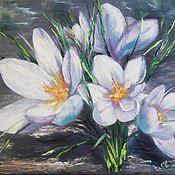 """Картины и панно handmade. Livemaster - original item Oil painting spring flowers 40/50 """"Snowdrops"""". Handmade."""
