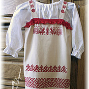 Работы для детей, ручной работы. Ярмарка Мастеров - ручная работа Русский сарафан с  вышивкой славянских оберегов. Handmade.